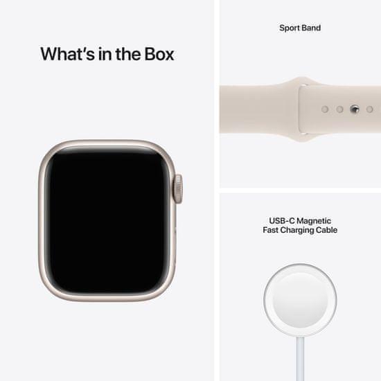 Apple Watch Series 7 Cellular, 41mm Starlight Aluminium Case Starlight Sport Band MKHR3HC/A