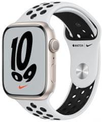Apple Watch Nike Series 7 , 45mm Starlight Aluminium Case with Pure Platinum/Black Nike Sport Band MKNA3HC/A