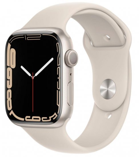 Apple Watch Series 7 pametni sat, GPS, 45 mm, aluminij, Starlight, Starlight Sport remen (MKN63BS/A)