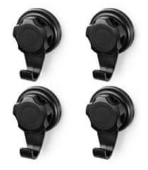 Compactor Malé háčky na stěnu Bestlock Black s přísavkami bez vrtání,nosnost až 3 kg, 4 ks