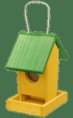 Krmítko dřevěné - závěsné žlutozelené