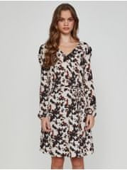 ICHI černo-krémové dámské vzorované šaty L