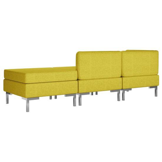 shumee 3-częściowy zestaw wypoczynkowy, tapicerowany tkaniną, żółty