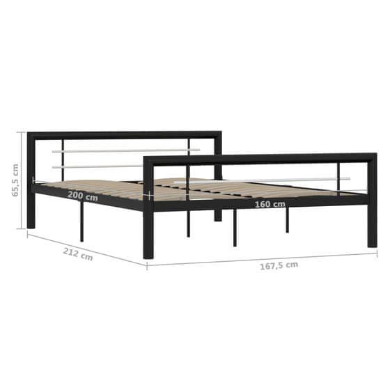 shumee Rama łóżka, czarno-biała, metalowa, 160 x 200 cm