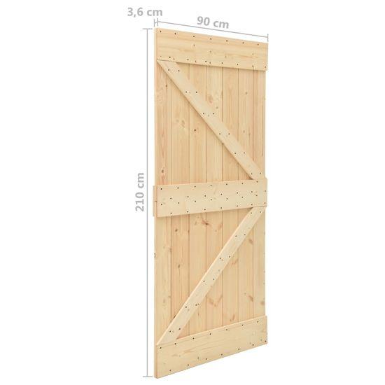 shumee Posuvné dvere so sadou kovania 90x210 cm borovicový masív