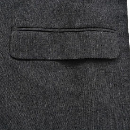 shumee Pánsky dvojdielny ľanový oblek, veľkosť 48, tmavosivý