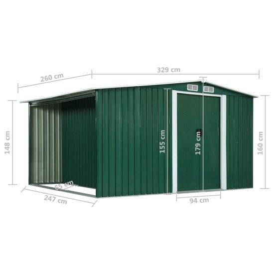 shumee Záhradná kôlňa s posuvnými dverami zelená 329,5x259x178 cm oceľová