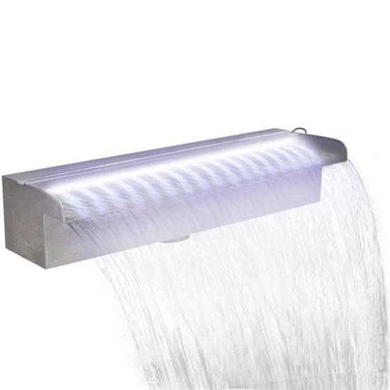 Greatstore Pravokotna fontana za bazen LED slap nerjaveče jeklo 45 cm