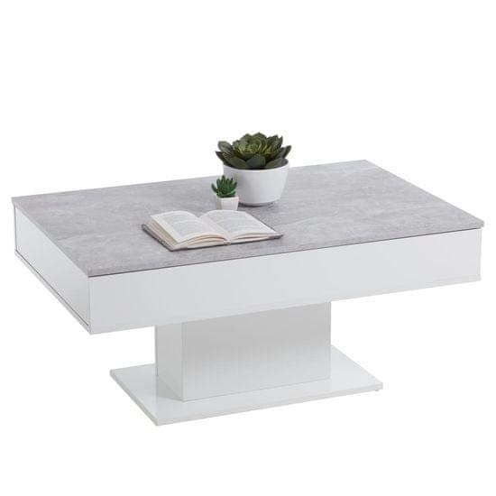 FMD Konferenční stolek betonově šedý a bílý