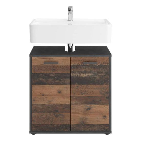 FMD Koupelnová dřezová skříňka se 2 dvířky Matera vintage tmavá