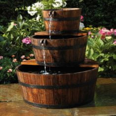 shumee Ubbink vrtna fontana iz 3 lesenih sodčkov
