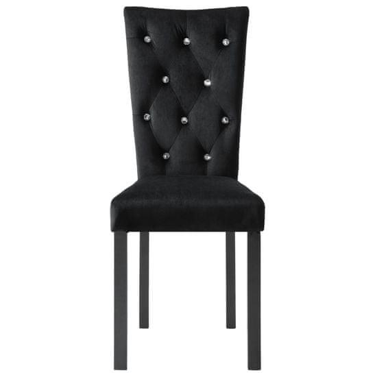 Greatstore Jedilni stoli 6 kosov črn žamet