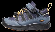 KEEN dětská kožená outdoorová obuv Hikeport 2 Low WP Y blue nights/sunflower 32.5 tmavě modrá
