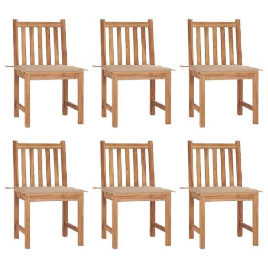 shumee Záhradné stoličky s vankúšmi 6 ks masívneho teakového dreva