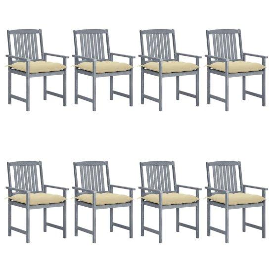 shumee Vrtni stoli z blazinami 8 kosov trdna tikovina sivi