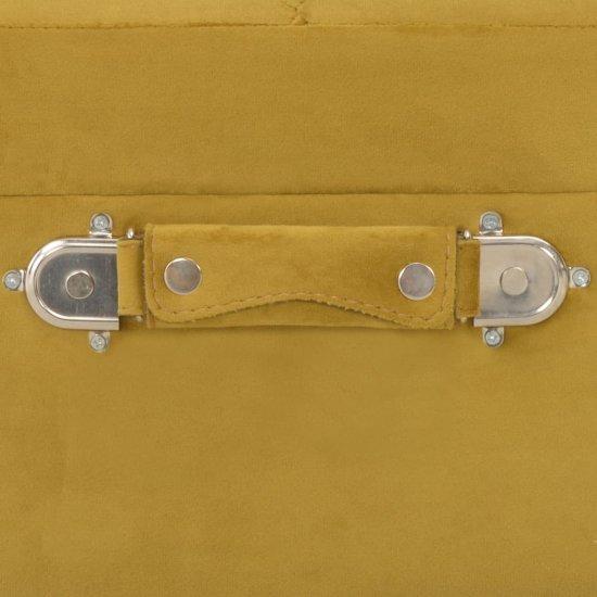 shumee Stołek ze schowkiem, musztardowy, 40 cm, aksamitny