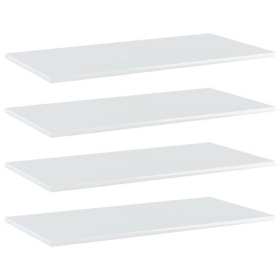 shumee Prídavné police 4 ks, lesklé biele 80x40x1,5 cm, drevotrieska