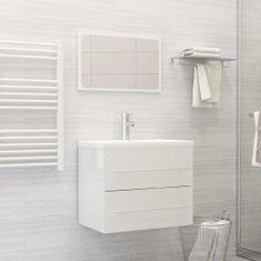 Greatstore 2dílný set koupelnového nábytku bílý vysoký lesk dřevotříska