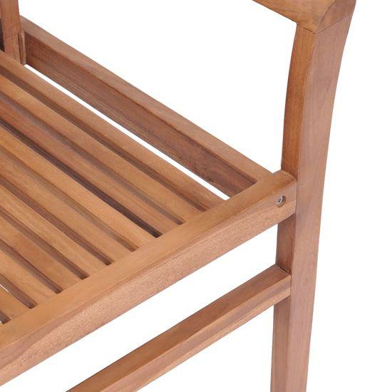 shumee Krzesła stołowe, 4 szt., poduszki w szarą kratę, drewno tekowe