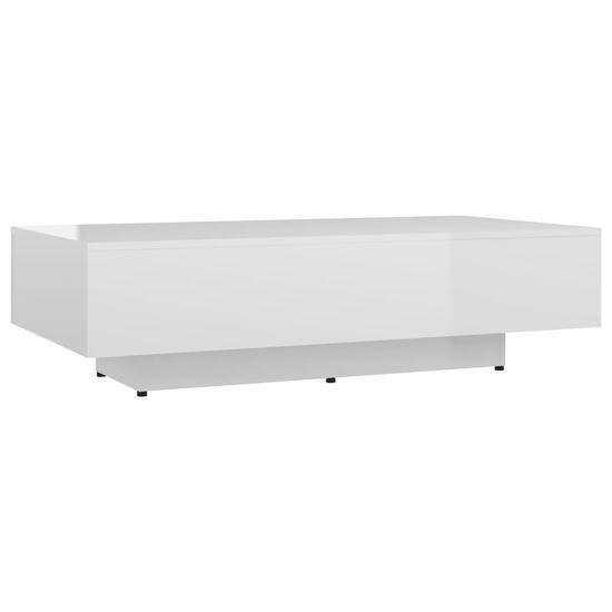 shumee Konferenčný stolík lesklý biely 115x60x31 cm drevotrieska