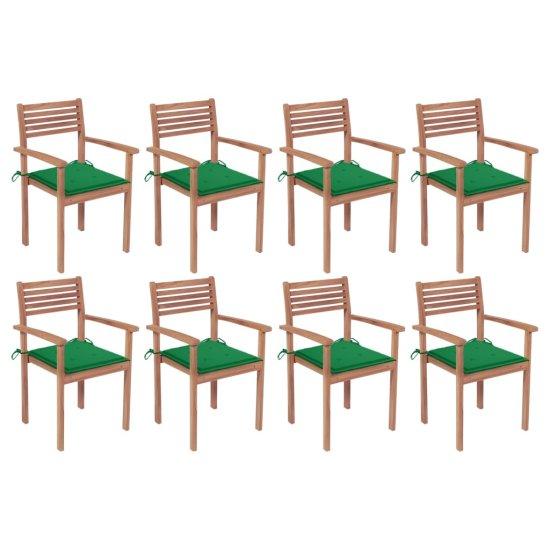 shumee Vrtni stoli z blazinami 8 kosov trdna tikovina