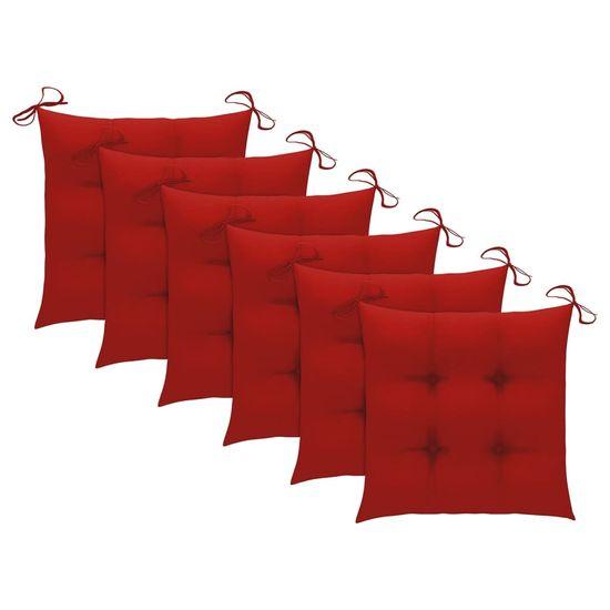shumee Záhradné stoličky s vankúšmi 6 ks akáciové drevo sivé