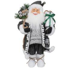 Dům Vánoc Santa v dlouhém šedém kabátku 45 cm