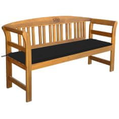 Zahradní lavice s poduškou 157 cm masivní akáciové dřevo