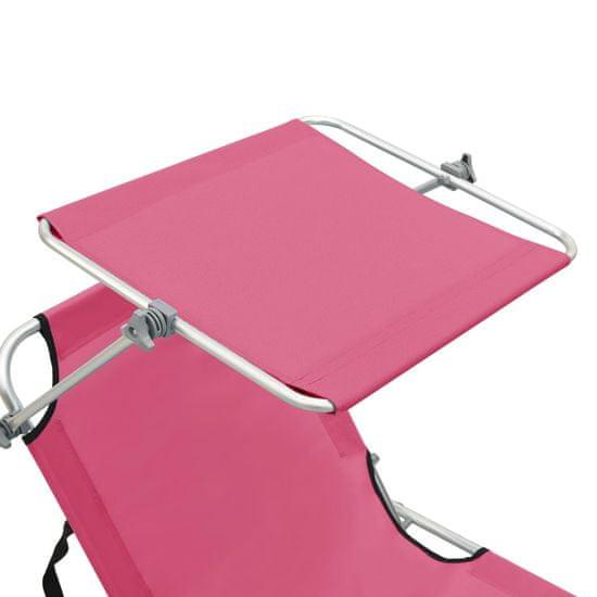 shumee Składany leżak z zadaszeniem, stalowy, różowy