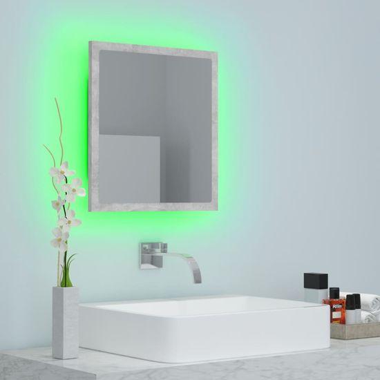 shumee LED kúpeľňové zrkadlo sivý betón 40x8,5x37 cm doska