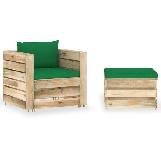 shumee 2-cz. zestaw wypoczynkowy do ogrodu, z poduszkami, drewniany