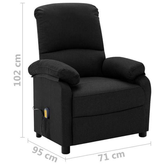 shumee Električni ležalni masažni stol, črna tkanina