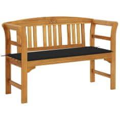 Zahradní lavice s poduškou 120 cm z masivního akáciového dřeva