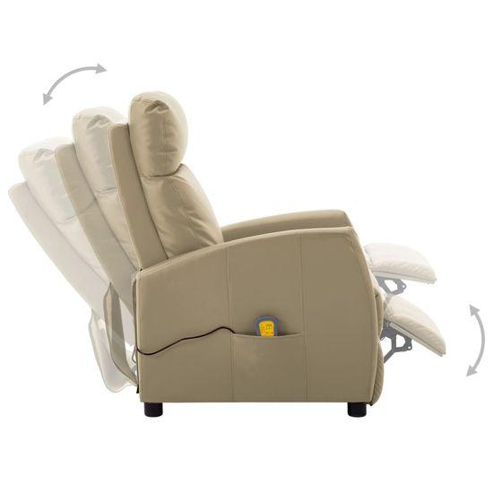shumee Ležalni masažni stol Električno kapučino iz umetnega usnja