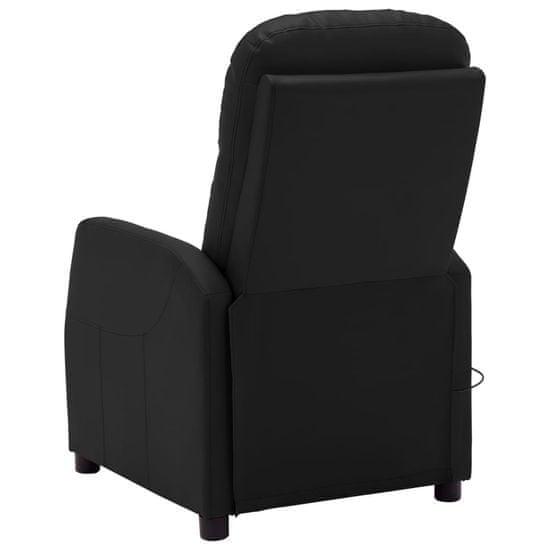 shumee elektrická ležadlová masážna stolička vidaXL, čierna umelá koža