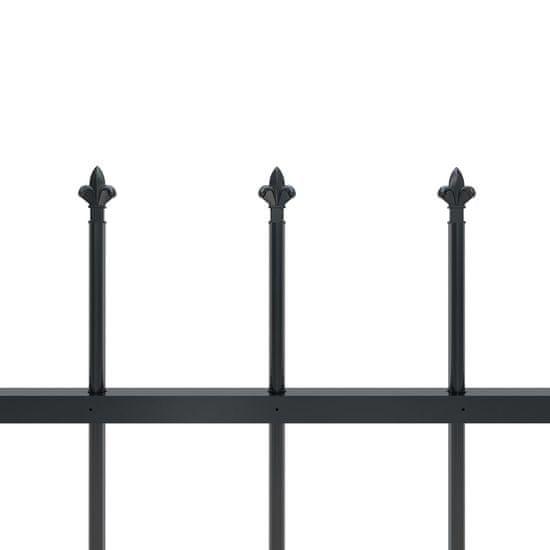 shumee Vrtna ograja s koničastimi vrhovi jeklo 11,9x1,2 m črna
