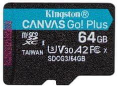 Kingston Micro SDXC Canvas Go! Plus 64GB 170MB/s UHS-I U3 + adaptér SDCG3/64GB