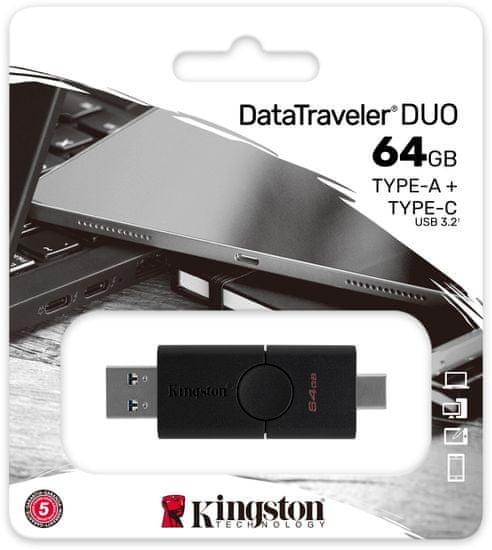 Kingston DataTraveler Duo - 64GB, čierna (DTDE/64GB)