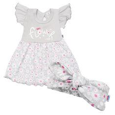 NEW BABY Dojčenské letné bavlnené šatôčky s čelenkou New Baby Happy Flower sivé 56 (0-3m) Sivá