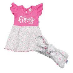 NEW BABY Dojčenské letné bavlnené šatôčky s čelenkou New Baby Happy Flower tmavo ružové 62 (3-6m) Ružová