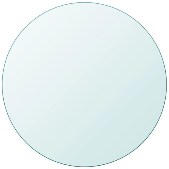 shumee Površina za Mizo Kaljeno Steklo Okrogle Oblike 700 mm