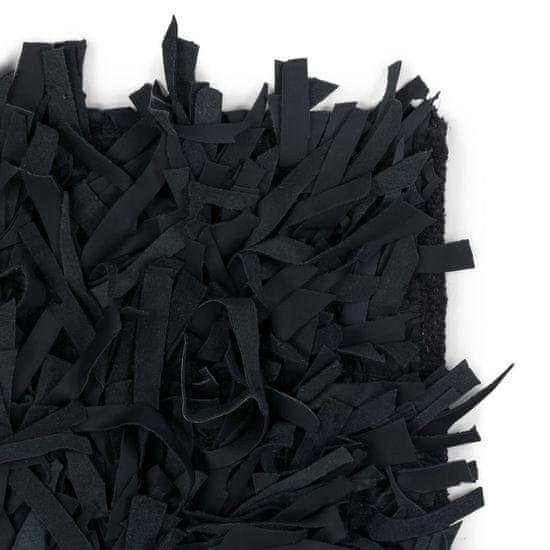 shumee fekete, valódi bőr shaggy szőnyeg 80 x 160 cm