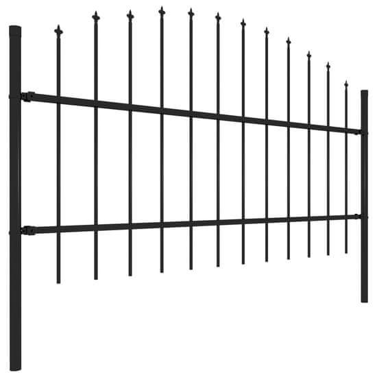 shumee Vrtna ograja s koničastimi vrhovi jeklo (0,75-1)x6,8 m črna