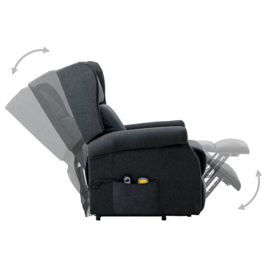 shumee Fotel pionizujący z funkcją masażu, ciemnoszary, tkanina
