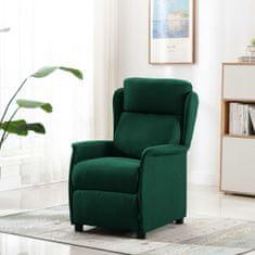 Greatstore Masážní polohovací křeslo tmavě zelené textil