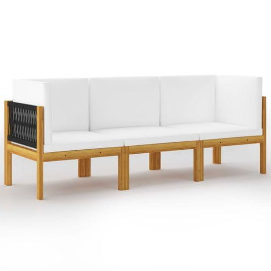 shumee 3 személyes tömör akácfa kerti kanapé párnával