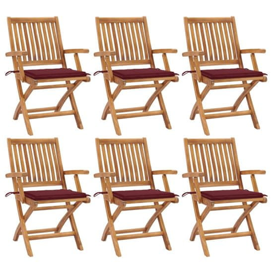 shumee Składane krzesła ogrodowe z poduszkami, 6 szt., drewno tekowe