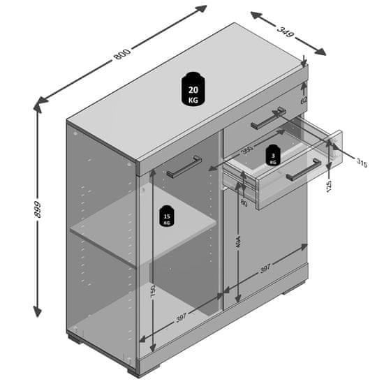 shumee FMD tölgyszínű komód 2 ajtóval és 2 fiókkal 80 x 34,9 x 89,9 cm
