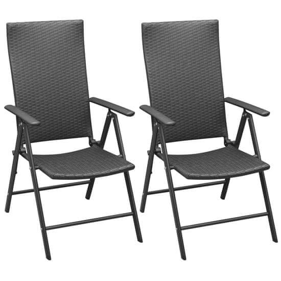 shumee Stohovateľné záhradné stoličky 2 ks, polyratan, čierne