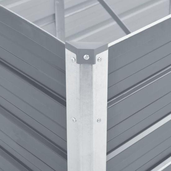 Greatstore Vyvýšený záhon pozinkovaná ocel 240 x 80 x 45 cm šedý